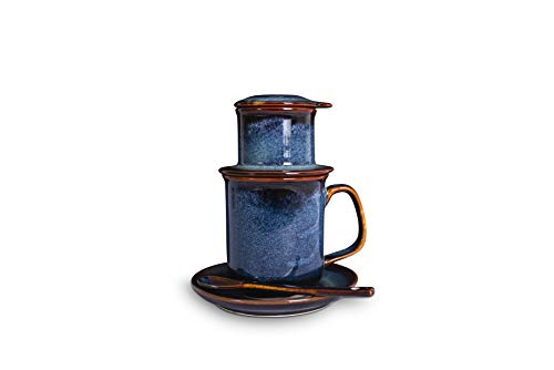 Vietnamese Coffee Filter Maker Set | Pour Over Coffee Dripper | French Press Style Coffee Filter | Handmade Ceramic | Including Cup and Spoon (Pacific)