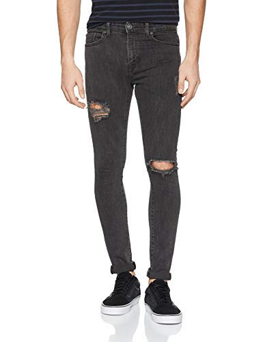 New Look Idris Washed Jeans Skinny, Grigio Scuro 03, W32 / L32 Uomo