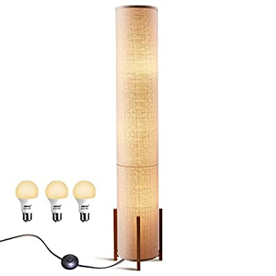 Floor lamp Amumo Decor Soft Light Lamps for Bedrooms Warm Atmosphere - Modern Home Corner Tall Standing Tower Lights for Living Room, Office - Contemporary Brown Fabric Shade with 3 LED Bulbs