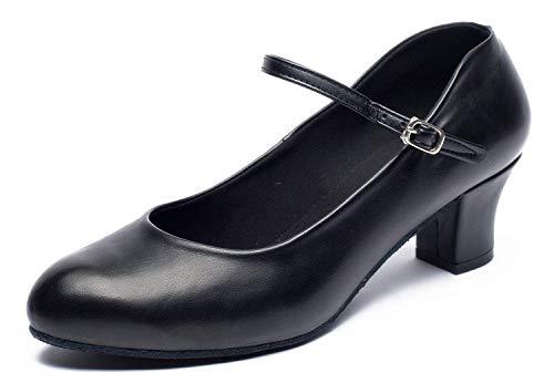 Joocare Womens Practice Beginner Latin Tango Ballroom Character Dance Shoes Wedding Party Pump Shoes (9.5, Black)