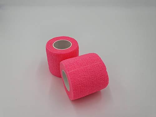 nilo Vendas cohesivas 5 cm x 4,5 m x 24 Rollos, Vendaje Autoadhesivo, Vet Wrap, Deportes Wrap (Rosa)