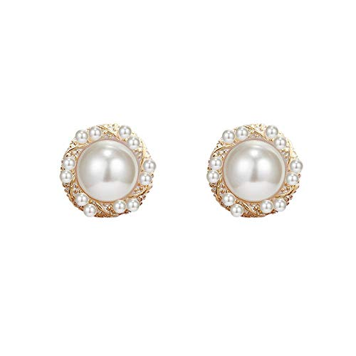 金桥Pendientes de perlas con micro incrustaciones de circonitas con aguja de plata s925