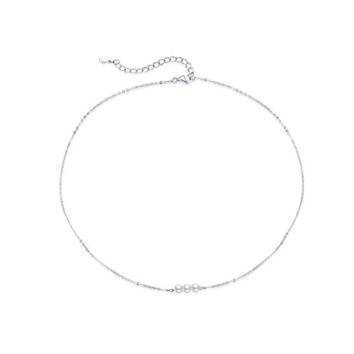 Sterling Silver Pearl Choker Necklace, Handmade with 3 Dainty Real Freshwater Pearl for Women or Girl