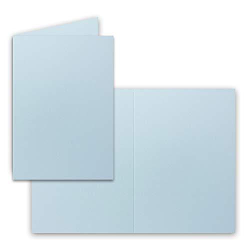 25x Falt-Karten DIN A6 in Hellblau - Blanko - Doppel-Karten - 220 g/m²