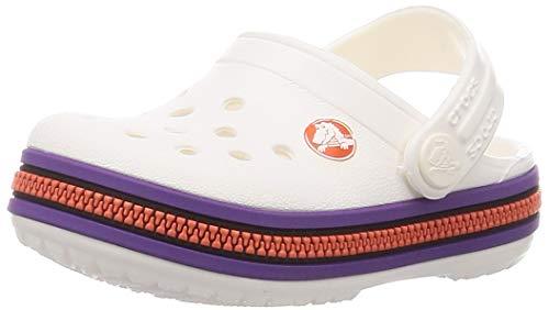 Crocs Crocband Zipper Band Clog Kids, Obstrucción Unisex niños, Blanco, Morado, 32/33 EU