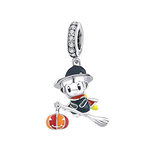 GaLon Charms Beads, S925 Sterling Silver Q Edición Bruja Bruja DIY Colgante Hecho a Mano Compatible con Pandora Troll Chamilia Charm Pulsera Europea Collares
