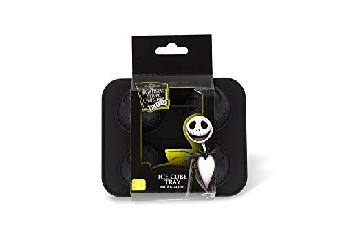 Nightmare Before Christmas Jack Skellington Silicone Ice Cube Tray - 4 Flexible Molds - Unique Kitchen Novelty Item Makes Creepy 3D Ice, Candy Or Soap of Jack's Face - A 25th Anniversary Collectible