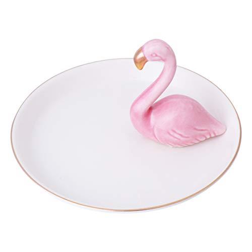 TOPBATHY Schmuckplatte Keramik Ring Teller Schmuck Tabletts mit Goldrand Flamingo Figur Hochzeit Valentinstag Geschenk
