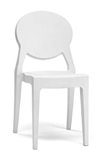 designement Elsa Chaise Design Polycarbonate Blanc 45x52x87 cm