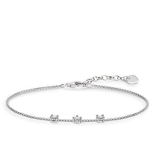 THOMAS SABO Damen-Armband 925 Sterling Silber Zirkonia weiß Länge von 16.5 bis 19 cm A1538-051-14-L19,5v