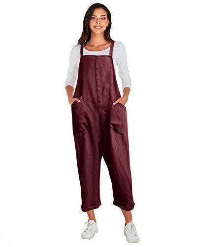 VONDA Latzhose Damen Winter Herbst Baumwolle Jumpsuit Retro Lange Overall Sommerhose A-Weinrot M