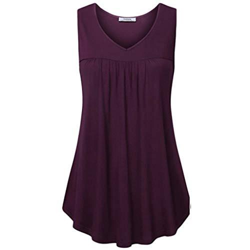 Damen Sommer Sexy Elegante Lässige Weste Solide Sleeveless V-Ausschnitt T Shirts Bluse Gefaltete Tunika Tank Tops(Lila,XL)