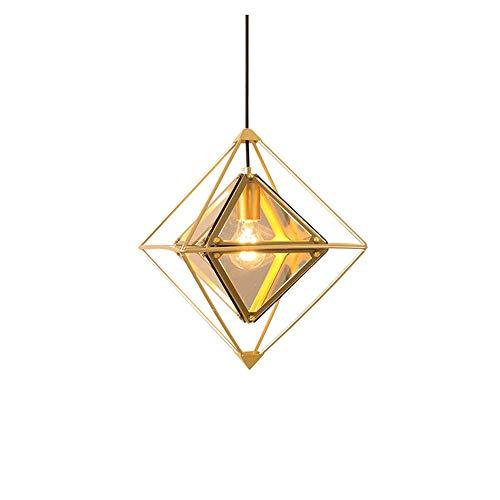 COCNI Lámparas Colgantes de Vidrio Templado Lámpara Colgante de Diamantes Lámpara de Techo Ajustable en Altura de Hierro Forjado Lámpara de Techo de Modelado geométrico, Color ámbar E27
