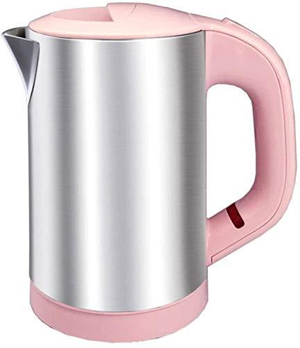 MMWYC Hervidor eléctrico de acero inoxidable 304, 500 W, 0,6 L, apagado automático, protección antiseco, negro, 170 x 100 x 175 mm (color, rosa), negro (color: rosa)