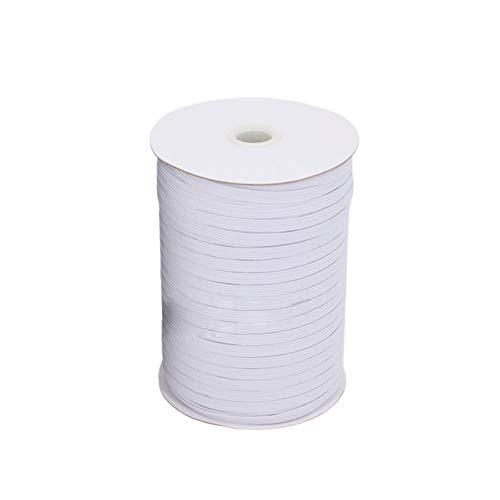 HONGY - Cinta elástica para costura de prendas de vestir, para cinturillas, plana, de látex, elástica, invisible, portátil, ajustable, lavable, 0,3 cm, color blanco, No nulo, Blanco, 0.3cm