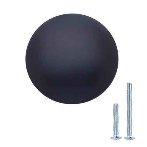 AmazonBasics - Pomo de armario redondo, 2,99 cm de diámetro, Negro liso, Paquete de 10