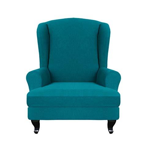 Jiyaru 2 Stücke Ohrensesselbezug Jacquard Sesselbezug Sessel-Überwürfe Ohrensessel Überzug Bezug Sesselhusse Elastisch Stretch Husse Pfauenblau