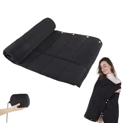 Manta para acampar al aire libre, compacta, ultraligera, ligera, cálida, resistente al frío, perfecto para viajes, senderismo, hamaca, mochilero, avión, picnic, ideas de regalo negro