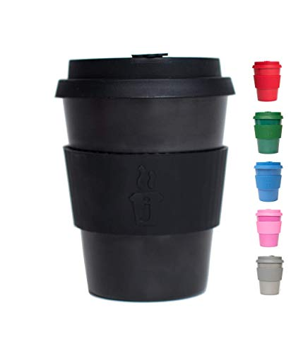 Joe Cup Premium Organic Reusable Bamboo Coffee Cup, Coffee Mug with Quick Seal Spill Stopper (Black, 20 oz)