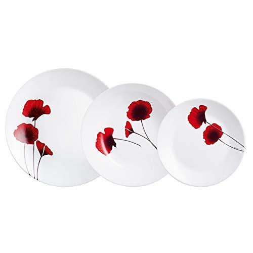 Arcopal Vajilla de Vidrio Opal Extra Resistente para 6 Personas, 18 Piezas, Sin BPA, Blanco