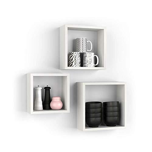 Kasahome Set mit 3 Regalen, Wandmontage, quadratisch, Würfel, Hängeregal aus MDF, Holz, verschiedene Farben (weiß)