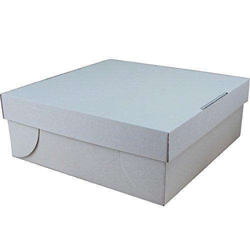 25 Tortenkartons 32x32x12 cm mit separatem Deckel | für Torten und Kuchen | Kuchenschachtel 2teilig | weiß unbedruckt | Kuchenkartons