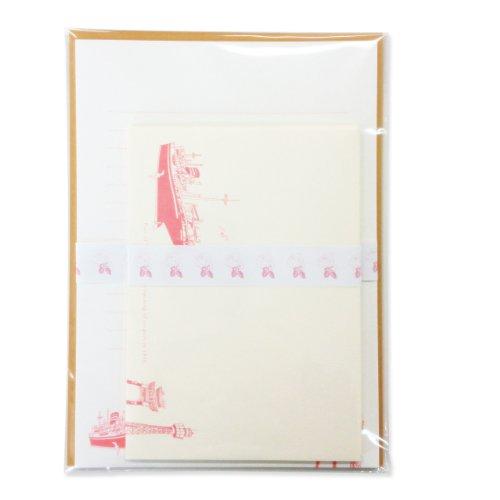 高級コットンペーパーを使用したシックな横浜と薔薇がモチーフの書き心地良いレターセット【横濱ローズ】/ピンク
