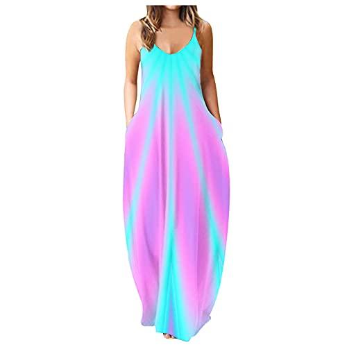 Sannysis Kleider Damen Sommerkleid MaxiKleider Bunte Freizeitkleid Boho Kleid Ärmellos Strandkleid Abendkleid Partykleid V-Ausschnitt...