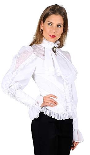 Das Kostümland Jabot bluzka z falbankami dla kobiet – biała – do historycznego kostiumu na imprezę karnawałową