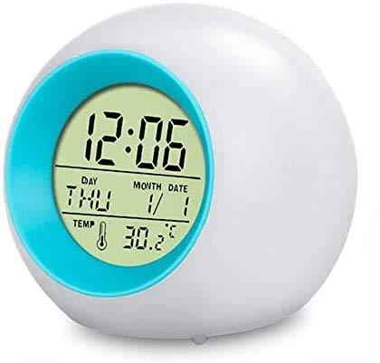 swonuk Digitaler Wecker für Kinder 7 Farben LED Lichtwecker Nachttischuhr Uhr Kinderwecker mit Datum, Schlummerfunktion und Temperatur (Blau)
