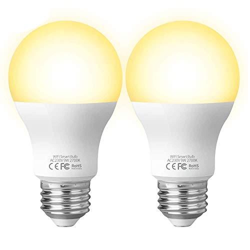 Ampoule Intelligente Connectée Ampoule LED WIFI E27, Fitop Smart Ampoule Compatible avec Alexa Echo, Google Home, Commande Vocale/Télécommande, équivalent 80W, Aucun Hub Requis 2.4GHz 2PCS