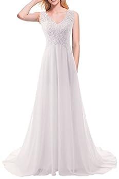 JAEDEN Wedding Dress Beach Bridal Dresses Lace Wedding Gown A Line Bride Dress White US26W