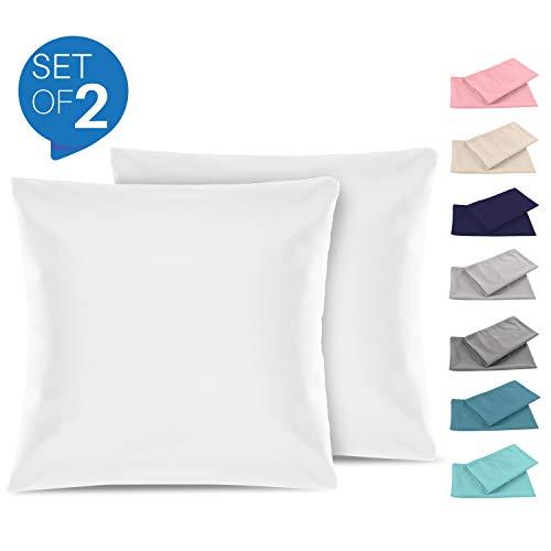 Set de 2 x Taie d'oreiller 60 x 60 cm, Blanc Albâtre, Microfibre (100% Polyester) - Taies d'Oreillers - Housse d'Oreiller Coussin pour le Lit - Taie Oreiller Qualité Confortable Hypoallergénique