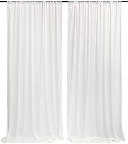 White Sheer Wedding Backdrop Curtain 9 8ft by 10ft Chiffon Fabric Drape for Wedding Party Stage product image