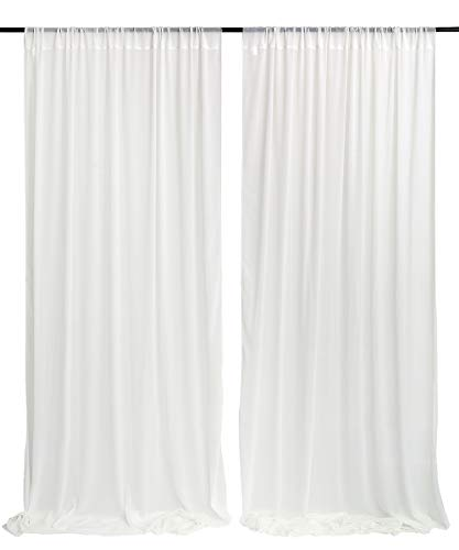 White Wedding Backdrop Curtain 10ft by 10ft Chiffon Fabric Drape for Wedding Party Stage Decoration