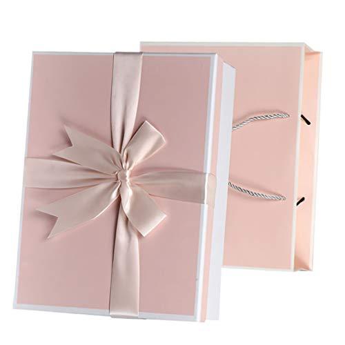 WINOMO Caja de Regalo con Cinta Cuadrado Vacío Presente Envoltura Caja de Embalaje para Boda Baby Shower Cumpleaños Fiesta de Graduación Suministros
