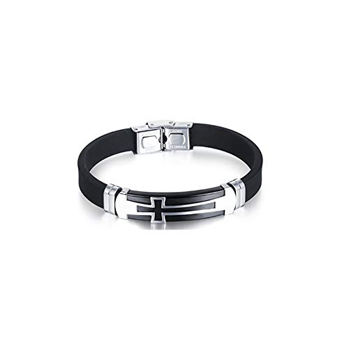Fuqimanman2020 Stainless Steel Cross Metal Buckle Silicone Sport Wristband Bracelet Black/Blue
