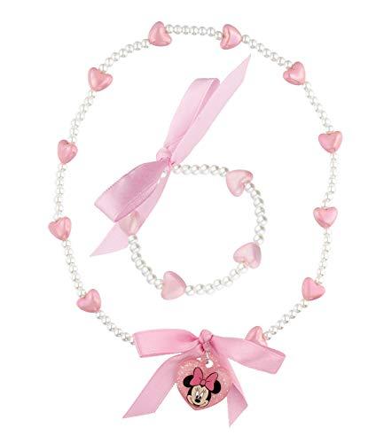 SIX Juego de collar y colgante con cuentas de plástico, lazo textil y forma de corazón, Minnie Mouse para niños (559-115)