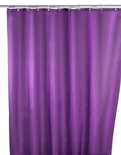 WENKO Anti-Schimmel Duschvorhang Uni Purple - Anti-Bakteriell, waschbar, mit 12 Duschvorhangringen, Polyester, 180 x 200 cm, Lila