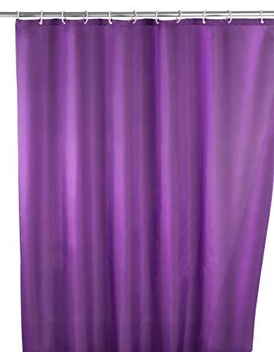 WENKO 20035100 Anti-Schimmel Duschvorhang Uni Purple - Anti-Bakteriell, waschbar, mit 12 Duschvorhangringen, 100 prozent Polyester, Lila