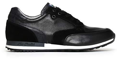 Nero Giardini P800240U - Zapatillas deportivas para hombre de piel y ante Negro Size: 42 EU
