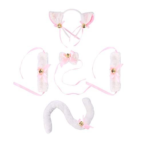 PRETYZOOM Disfraz de gato de felpa, diadema con orejas, pajarita, pulsera, cola, cola, gato, cosplay, 5 unidades (color blanco)