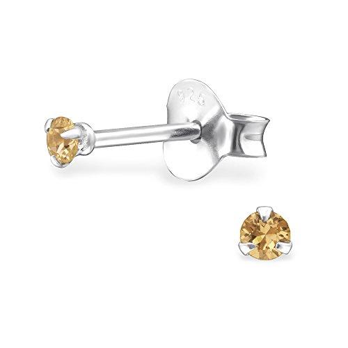 Laimons dames oorstekers dames sieraden rond mini champagne zirkonia sterling zilver 925