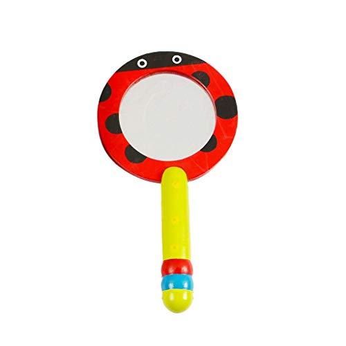 Decorative mirror-QFF Miroirs de poche en bois, Miroir de couleur Un beau petit Miroir Enfants Portable Vanity Miroir Miroir de maquillage haute définition Miroir (Color : B)