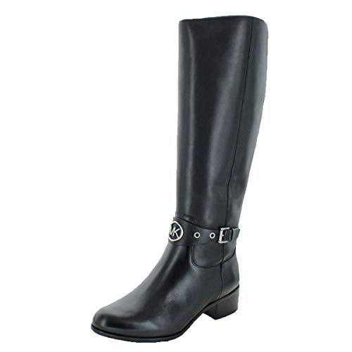 Michael Kors MK Women's Knee High Leather Heather Riding Boots Black (5.5 M US)