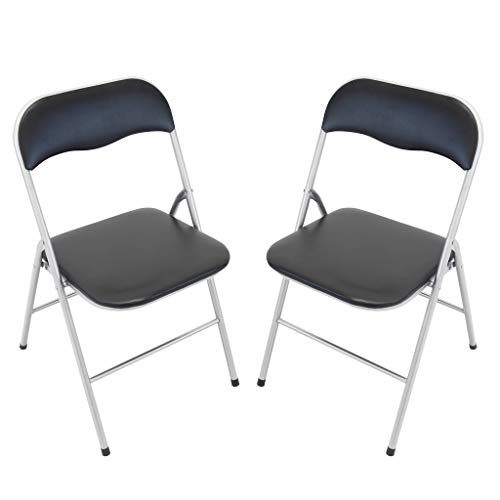 Milani Home s.r.l.s. Set di 2 SEDIE Slim Pieghevoli Nere con Comoda Imbottitura della Seduta per Ospiti, Ufficio, CASA, Campeggio