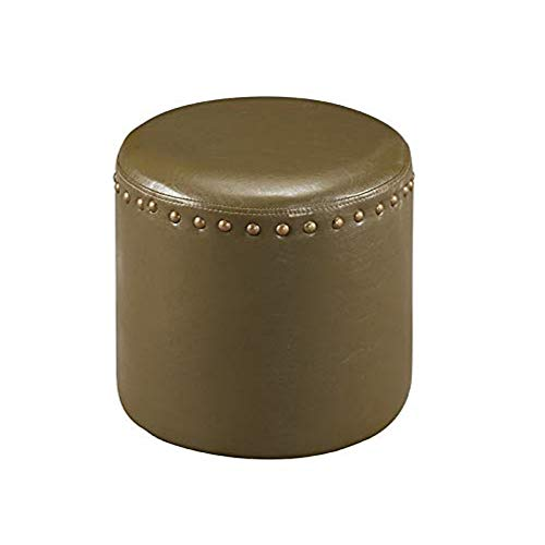 K & B Furniture 3217-GR Green Faux Leather Round Ottoman