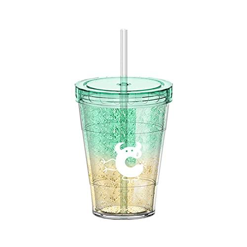 Taza de Plástico Helado de 410Ml con Paja Taza de Café de Doble Pared Botella de Agua Reutilizable Diseño de Moda para Estudiantes de Secundaria/Secundaria Botella de Agua de Alta