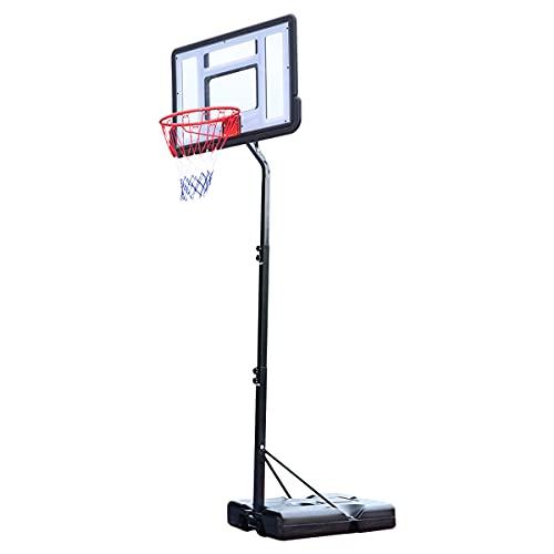 Aro de baloncesto ajustable de 7 pies a 8 pies adolescente portátil PVC transparente tablero para niños extraíble soporte de baloncesto