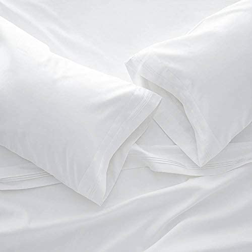 1000 Thread Count Bed Sheet Sets – Luxurious 100% Egyptian Cotton Deep Pocket Sheets – Bedding Set Includes One Flat Sheet, One Fitted Sheet & Two Pillowcases – California King Size, White